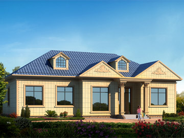 html 2.10万建 农村一层平房别墅设计图-户型好,外观大气!